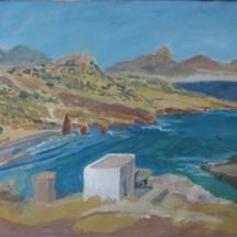 ile de Milos, le fort , gouach aquarellée, 55X33