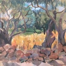 champs de ble Milos, aquarelle gouachée, 20X30